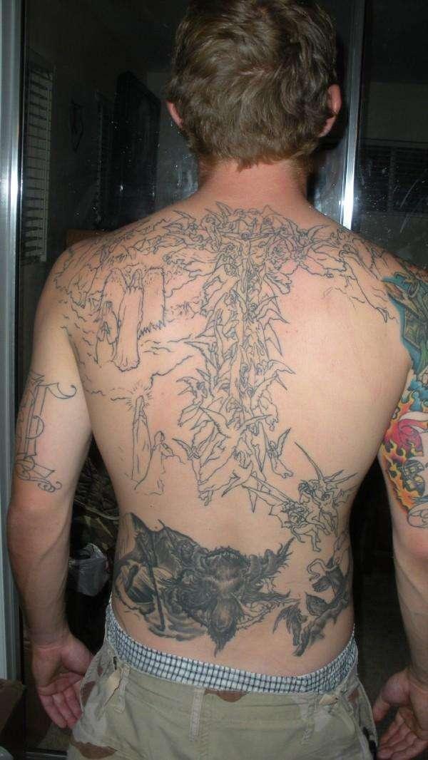 Divine Comedy Fullback Piece Tattoo