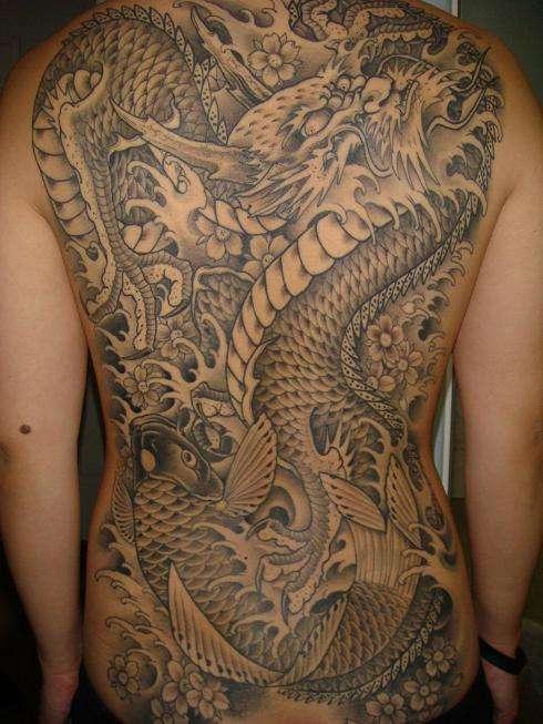 Dragon and koi 1 tattoo