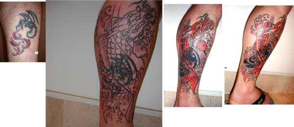 Koi Dragon (cover up) tattoo