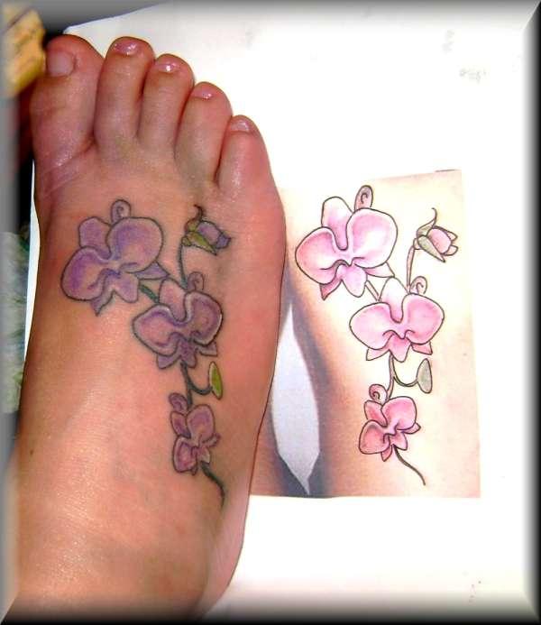 Foot Orchid tattoo