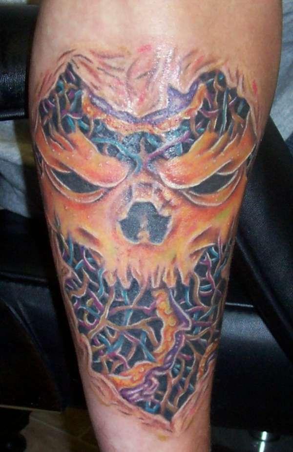custom skull and rotten skin tattoo