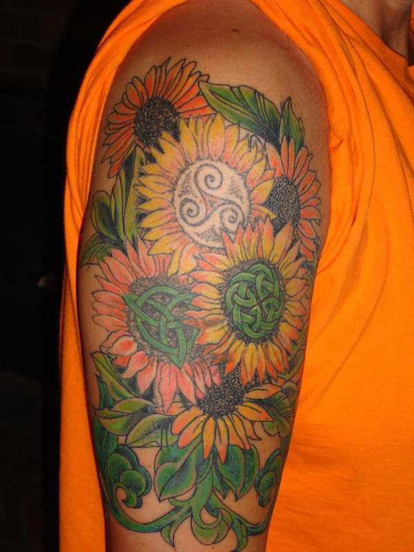 celtic sunflowers tattoo