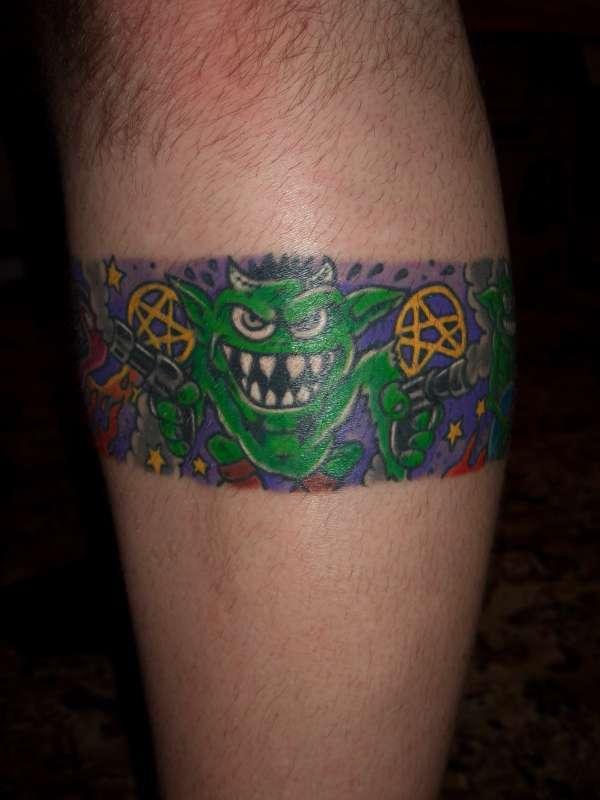 zombie art leg band (front) tattoo
