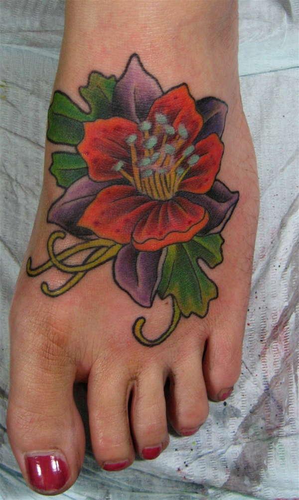Left Foot Flower tattoo