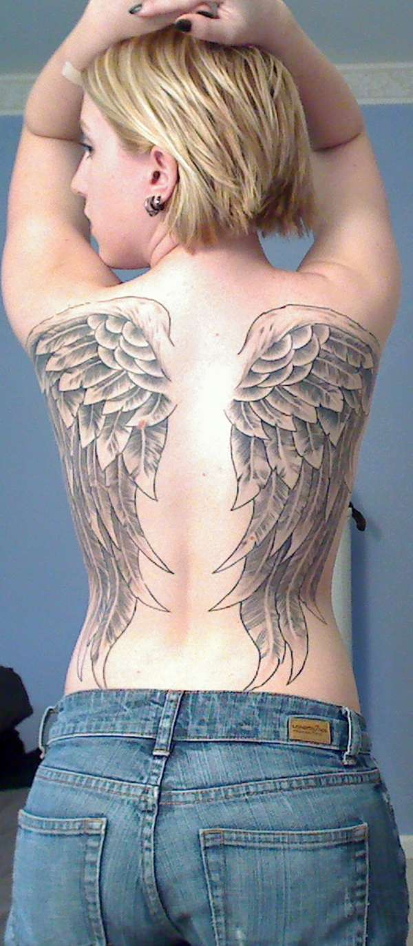 Full Back Wings - Finished tattoo