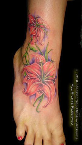 Lillies on Foot tattoo