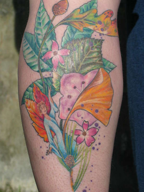 leaves with color tattoo