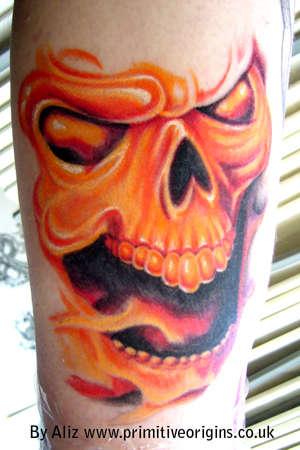 Flaming Skull by Aliz tattoo