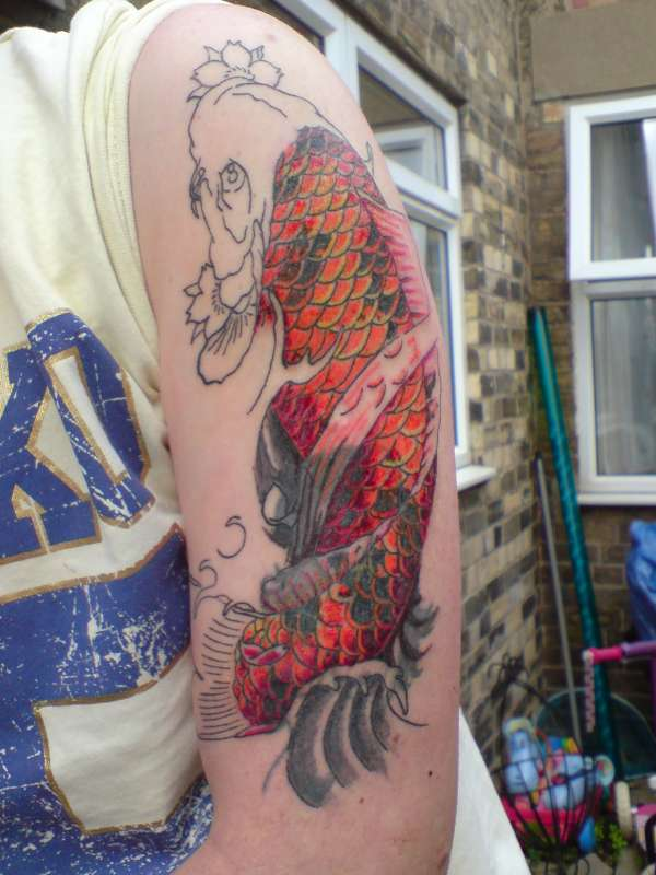 Koi cover up 2nd session tattoo for Pulse tattoo peterborough