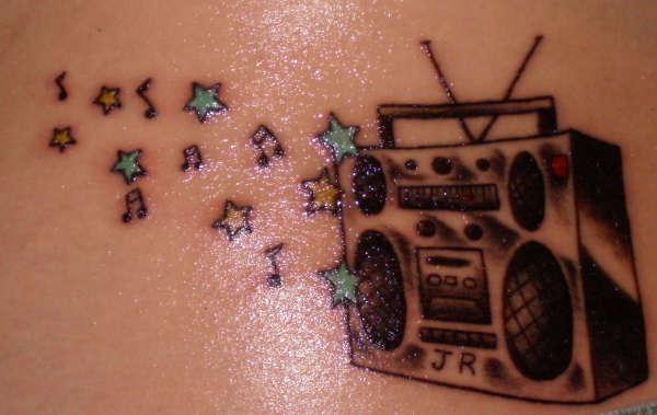boombox and stars tattoo