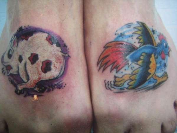 chicken pig run tattoo