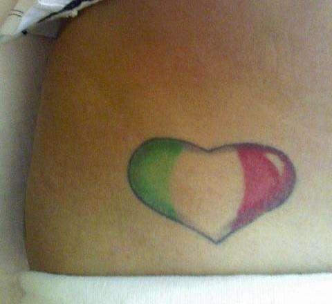 Italian flag heart tattoo