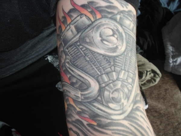 panhead motorcycle engine tattoo