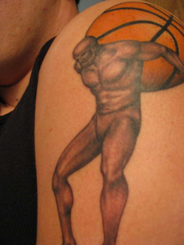 Atlas holding a basketball tattoo