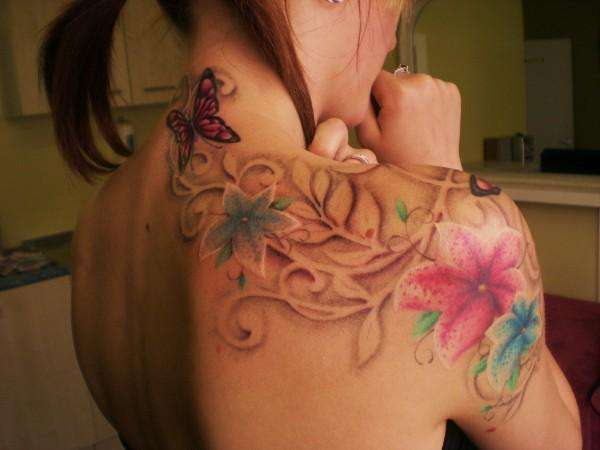Flowers, Butterfly's, Swirls (1) tattoo