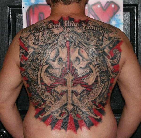 affliction back piece tattoo. Black Bedroom Furniture Sets. Home Design Ideas