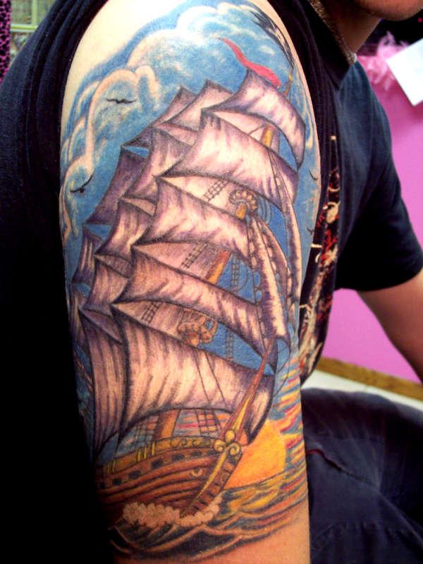 Nathans Ship tattoo