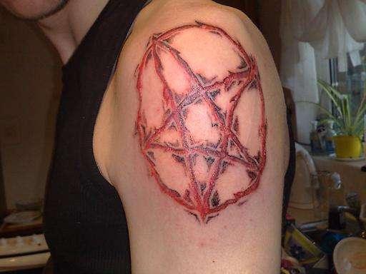 Inverted Pentagram tattoo