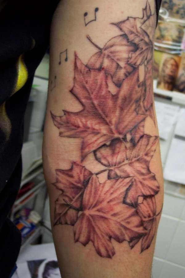 leaf sleeve tattoo. Black Bedroom Furniture Sets. Home Design Ideas