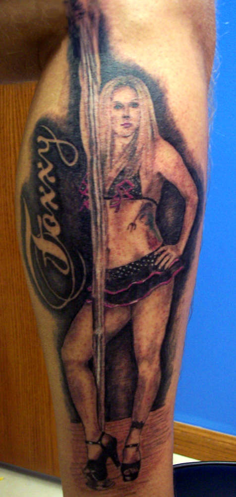 Tattoos of a stripper on a poll something