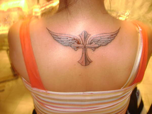 angel wings w/cross tattoo