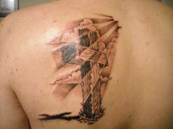 old rugged cross tattoo
