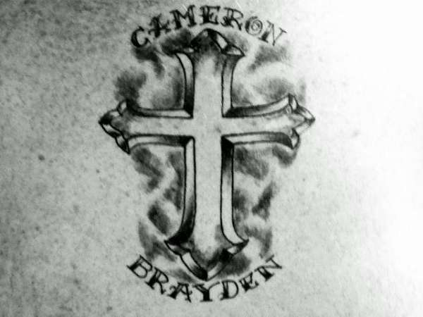 Cross w/ kids names!!! tattoo