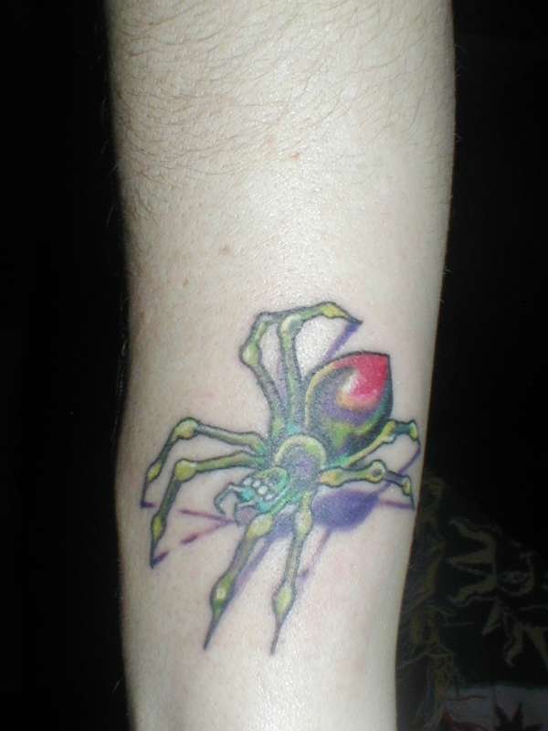 colourful spider tattoo