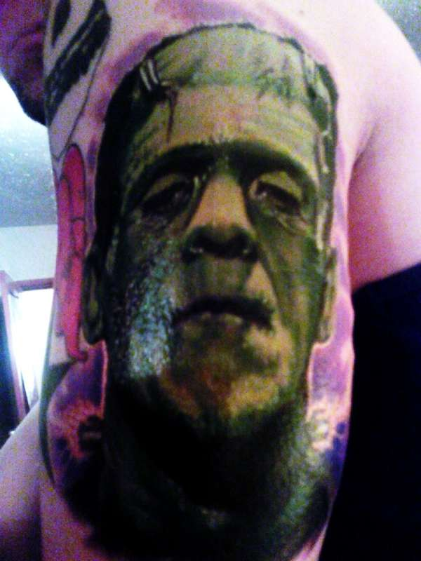 Traditional style Bride of Frankenstein tattoo on the