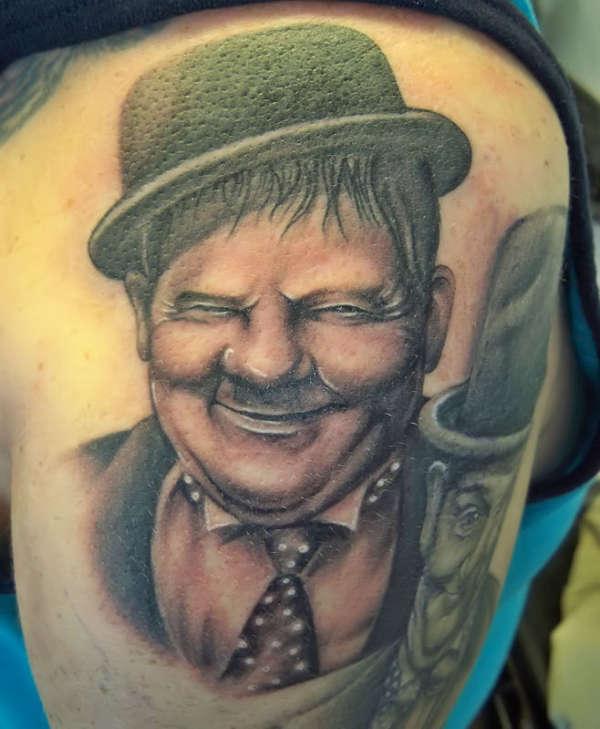 Oliver Hardy tattoo