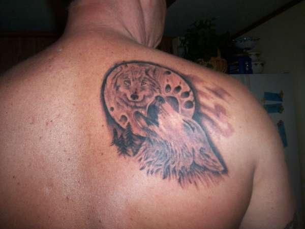 wolf/moon tattoo