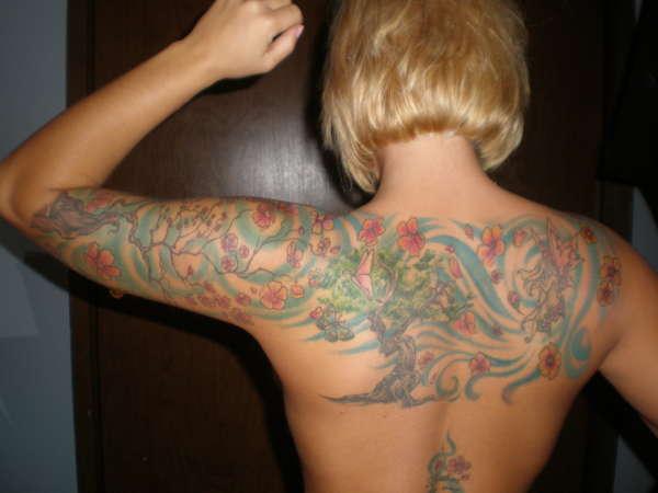 upper back/ half sleeve tattoo