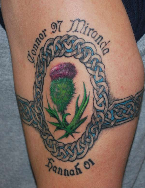 Celtic Armband with Custom Knot Oval and Scottish Thistle tattoo