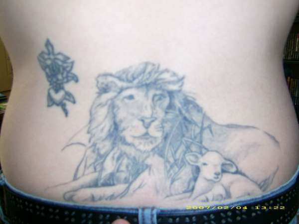 Lion and Lamb, Cross in Rose tattoo