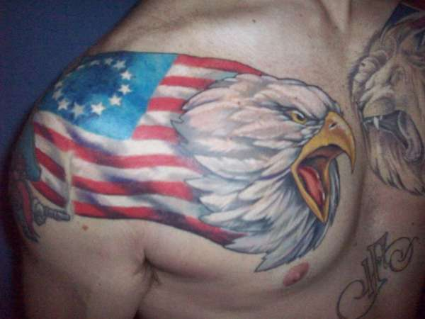 Eagle & US Flag Old Glory tattoo