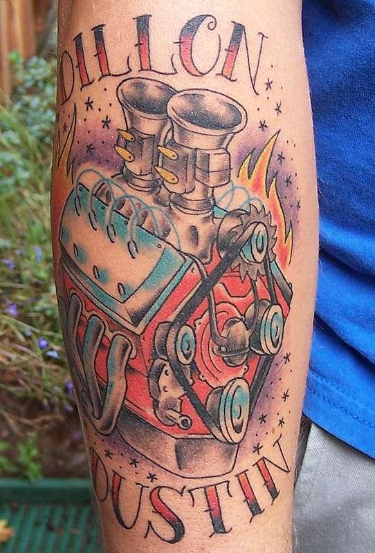 Flathead V8 engine tattoo