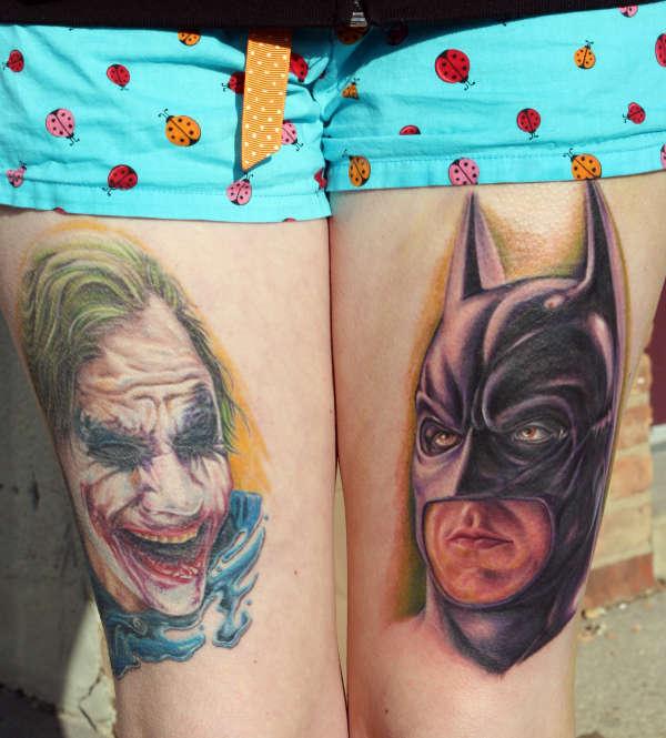joker and batman tattoo