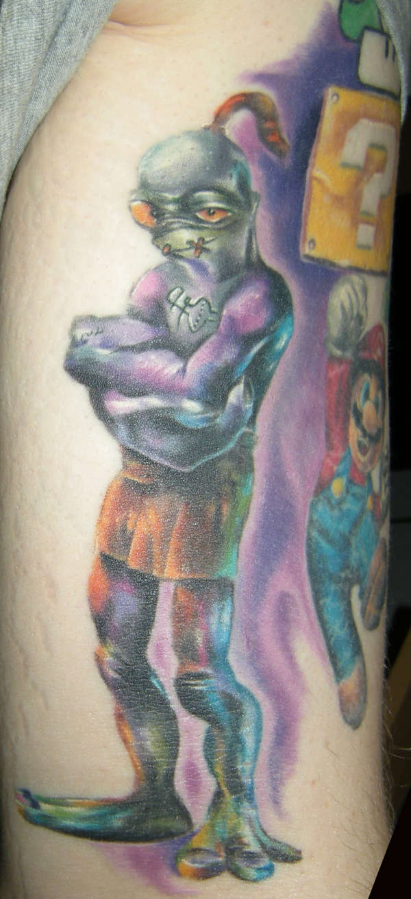 Abe, from the 'Oddworld' games. tattoo