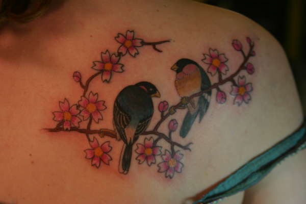 Birds on a cherry tree branch tattoo