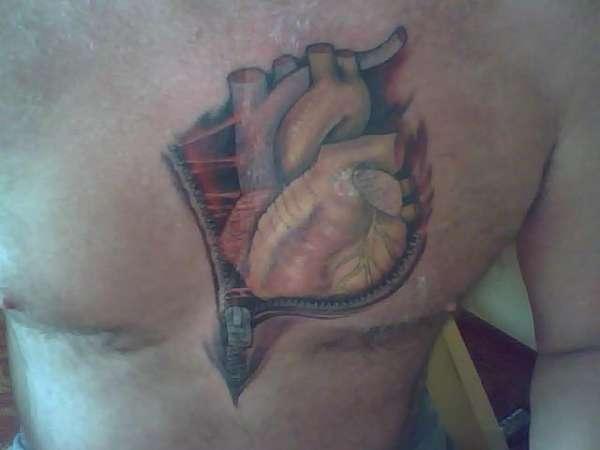 Heart/Zipper Happy To Be Alive tattoo