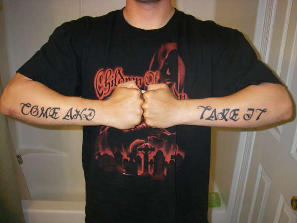 Come and take it tattoo