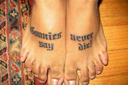 goonies never say die - feet tattoo