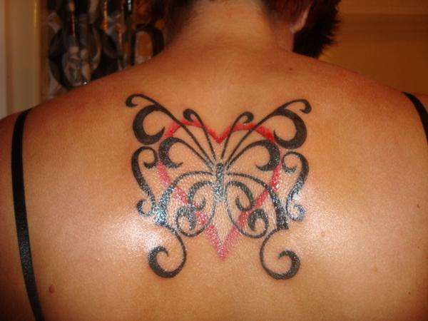 tribal butterfly and heart tattoo. Black Bedroom Furniture Sets. Home Design Ideas