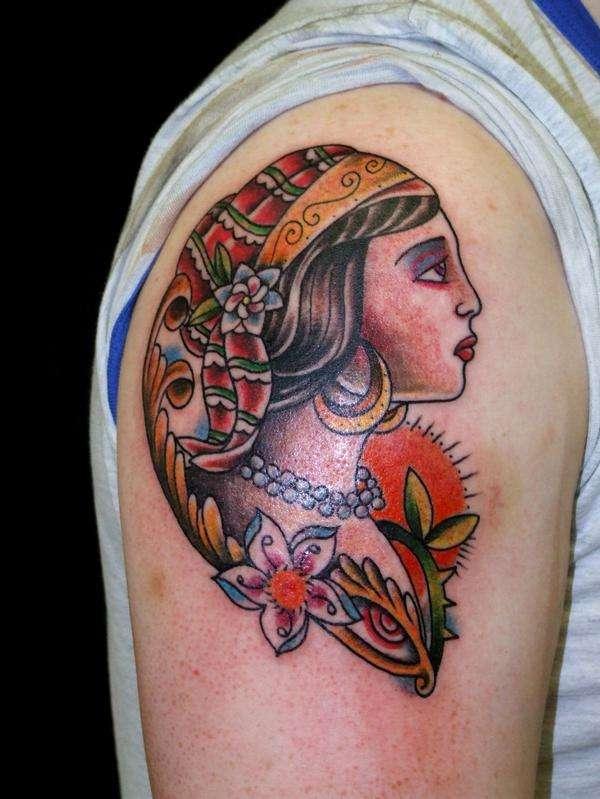 custom gypsy head tattoo