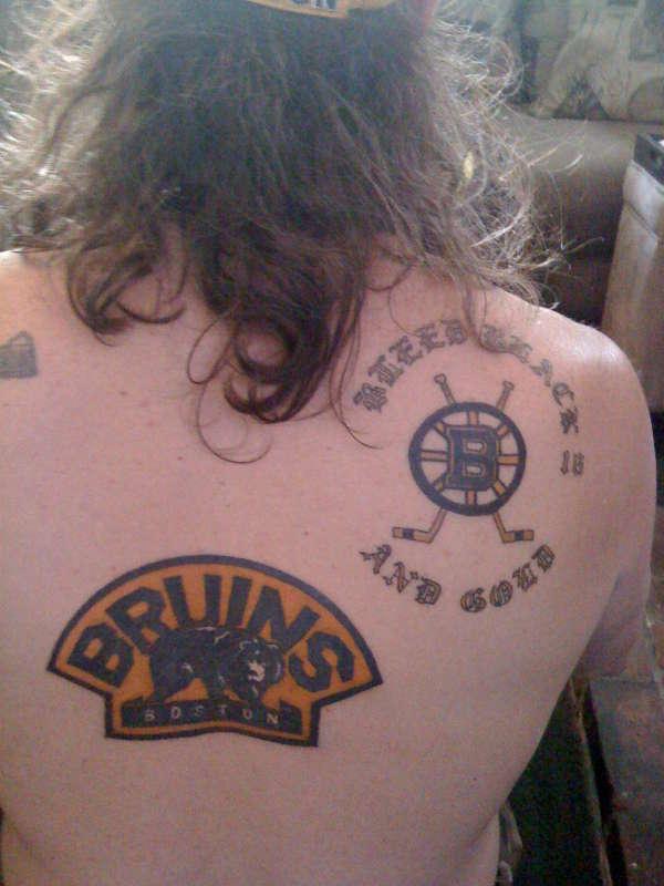 boston bruins start of back piece all bruins tattoo