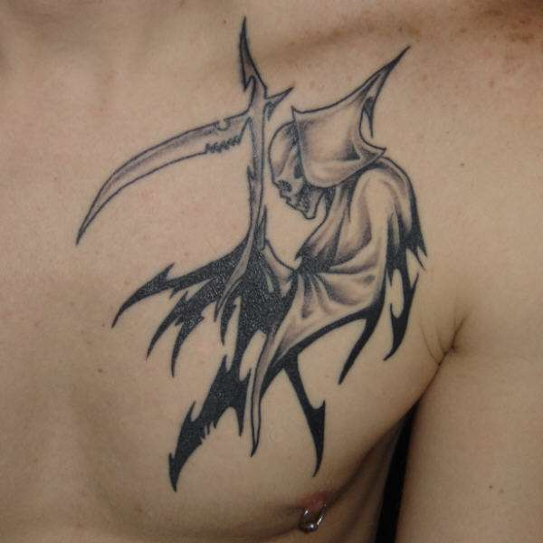 tribal/reaper tattoo