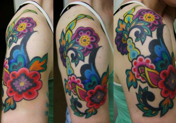 paisley flower tattoo - colored tattoo