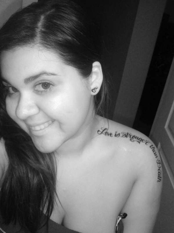"""""""Love is Stronger than Death"""" tattoo"""