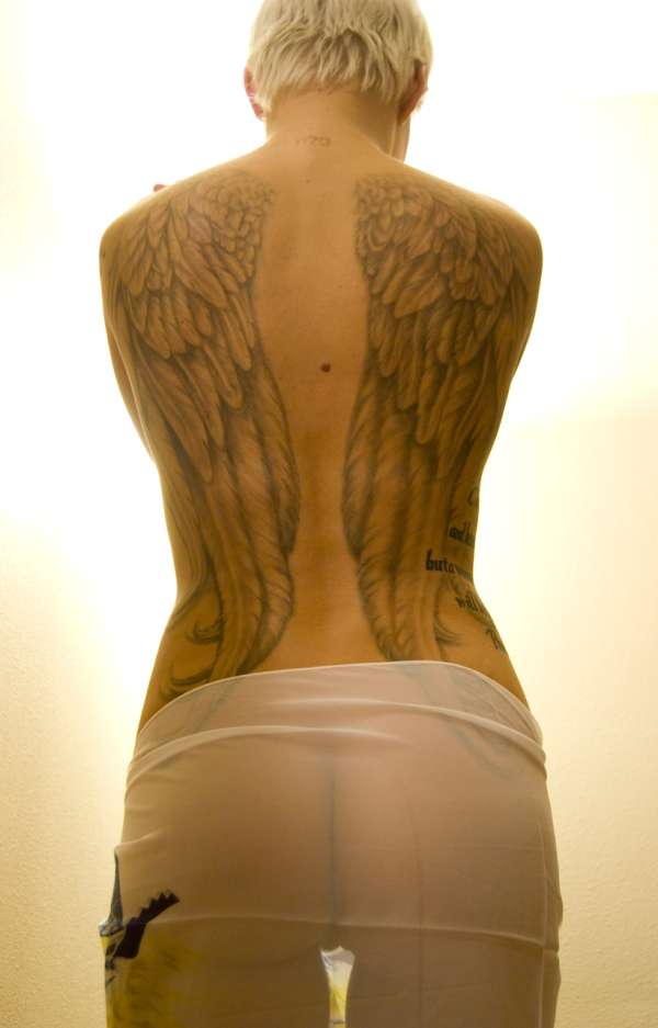 angel wings back piece tattoo