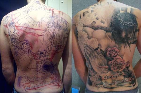 *IN PROGRESS* Jesus Back-Piece tattoo